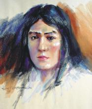 BANNOCK WOMAN, PASTEL ON NEWSPRINT